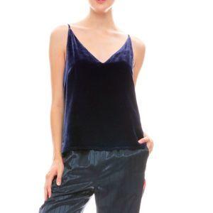 L'AGENCE Gabriella Velvet Blue Cami Tank Top